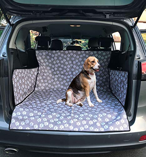 iHavePet Waterproof Car Boot Liner Protector Covers for Dogs with Side Protection - Choice in in 3 Colours (Grey/Paw)