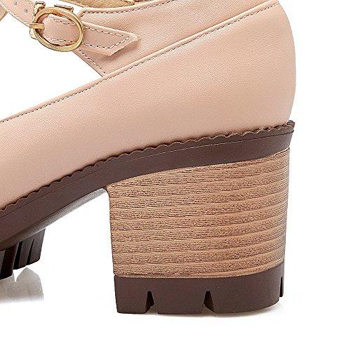 VogueZone009 Femme Couleur Unie Pu Cuir à Talon Correct Boucle Rond Chaussures Légeres Rose