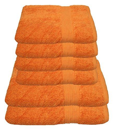 Handtuchset in ORANGE 4x Handtuch 50x100cm 100/% Baumwolle 500g//m/² 4 tlg