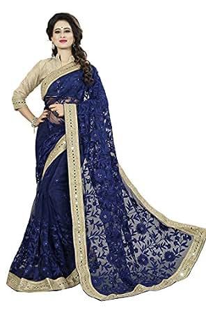 Fashion2wear Net Saree With Blouse Piece (SAR-362_Blue_Free Size)