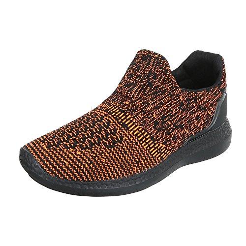 Slipper Damenschuhe Herrenschuhe Leichte Unisex Sneakers Ital-Design Halbschuhe Orange Schwarz BY3106