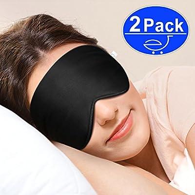 Sleep Mask,Eye Mask,Gratein 2-Pack Ultra Soft Skin-Friendly 100% Pure Natural Silk Sleeping Mask Eyeshade with Ear Plug and Adjustable Strap - Black
