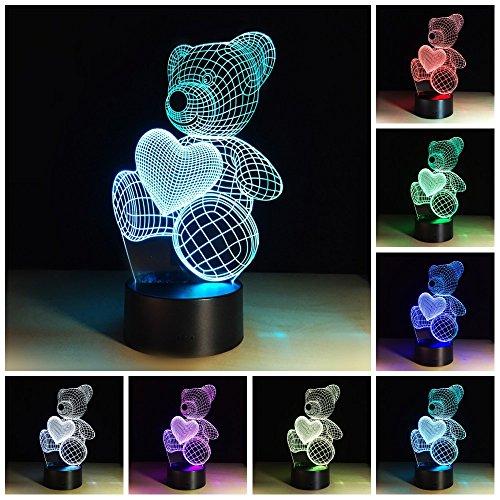Love Herz Bär 3D LED Lampen 7Farben 3D optische Illusion LED Nacht Licht Drücken Schalter Schlafzimmer Schreibtisch Licht Schlafzimmer Geschenke Art Deco Love Bear