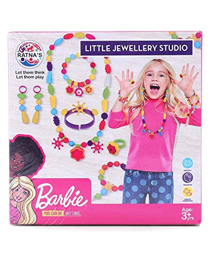 Ratna's Barbie Little Jewellery Studio for Girls. Pop Up Beads Jewellery Making Kit for Girls