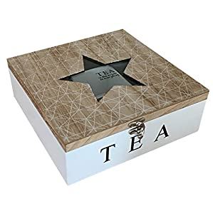Karla–Motif Géométrique Boîte à thé en bois avec 9compartiments étoile Plateau en verre (Naturel)