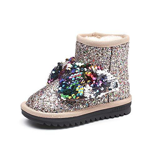 ZHWEI Kind Schneeschuhe Pailletten Schneeschuhe Prinzessin Stiefel Mädchen Warm Bleiben Booties Mode Verdicken Stiefel Aus Baumwolle