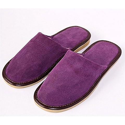 TDXIE Autunno/inverno Prairie frizzled piuma cuoio pantofole scarpe da casa , purple , 39