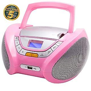 LAUSON CP448 Radio mit CD Spieler | CD Radio mit USB | CD Player für Kinder | Stereoanlage Boombox | Tragbares Stereo (Rosa)