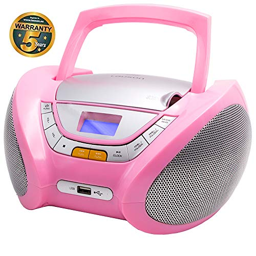 LAUSON CP448 Radio mit CD Spieler | CD Radio mit USB | CD Player für Kinder | Stereoanlage Boombox | Tragbares Stereo (Rosa) (Radio Kid Mp3)