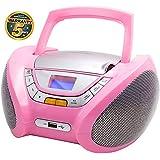 Lauson Lecteur CD | Radio Portable | USB | Radio Stéréo CD Lecteur MP3 pour Enfant | Chaîne stéréo | Prise Casque | Aux in - Écran LCD - Batterie et Alimentation électrique | CP448 (Rose)