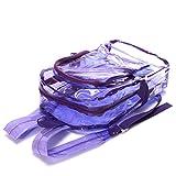 Tinksky Clear Rucksack Student Transparente Schule Bookbag Süßigkeiten Farbe Satchel für Schule Reisen Sport (Fluoreszenz Lila)