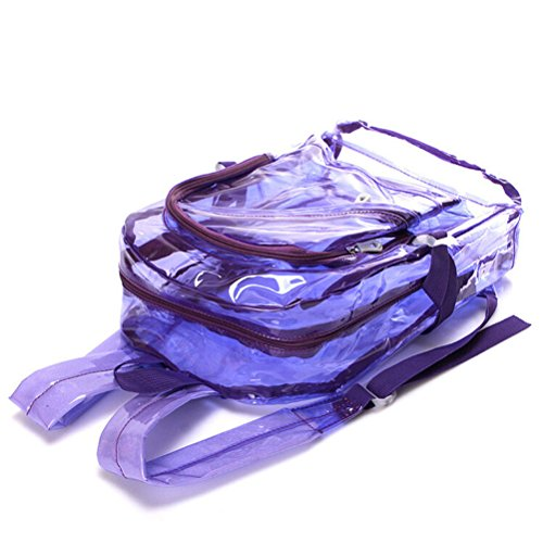 Clear BackPack – OULII Sac à bandoulière transparent Sac à bandoulière à l'école Sac à bandoulière en couleur Candy pour enfants (Fluorescent Purple)
