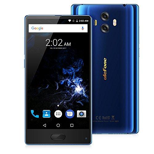 "Ulefone MIX Smartphone 4G Android 7.0 (MTK6750T Octa Core 1.5GHz, 5.5"" Corning Gorilla Glass 3 HD Schermo, 4GB RAM 64GB ROM, 13MP+13MP+5MP Camera, Fingerprint ID, Dual SIM, 3300mAh Batteria) Blu"