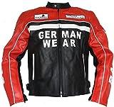German Wear Rad-Masters Motorrad Lederjacke, Schwarz/Rot, 4XL