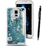 Funda para Samsung Galaxy S5 Neo , SMART LEGEND Dual Layer 3D Líquido Glitter Glitter Shiny Gloss Sparkle Clear Dynamic Quicksand Case Cover Skin Shell Carcasa Funda, Cubierta de la Caja Funda Protectora de Plástico Duro Caso Claro Transparente que Fluye del Brillo de Bling Carcasa Funda Caso + 1 X Stylus Pen - Estrellas Azul