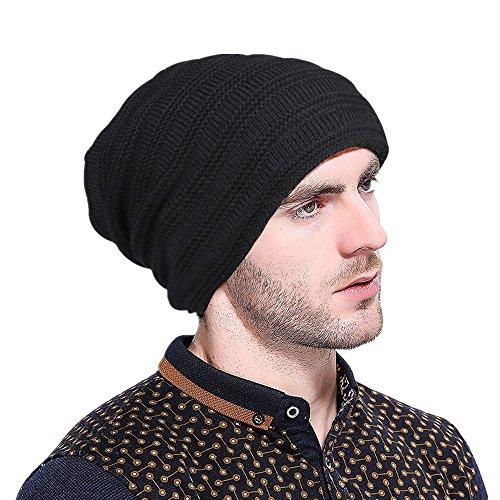 Herren Barett Mütze Wollmütze Herren Sportswear Ski Knit Winter Crochet Hut Wolle Barett Hüte Kappe Baskenmütze Beret Cap (Schwarz) (Crochet Beret)