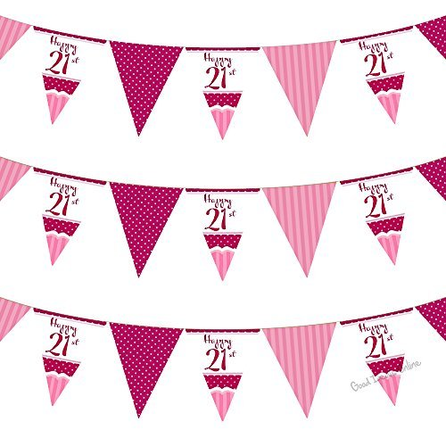 21st Perfectly Pink Girls Classy Happy Birthday, Anniversary, Special Occasion, Party Decoration Bunting Flags One Sided - 12FT (2 Packs) by Good Deals Online (21st Happy Birthday-dekorationen)