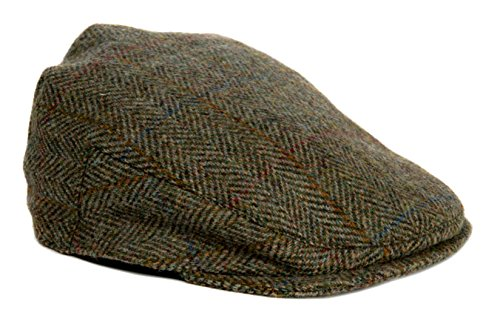 Harris Tweed Country Flache Kappe Regulär Einstellbar Geeignet für Männer oder Frauen (Grün)
