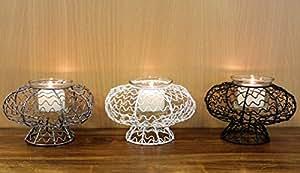 Porte bougie jardin bougeoir en verre sur grande coupelle métal lot de 3 pce (3 couleurs)