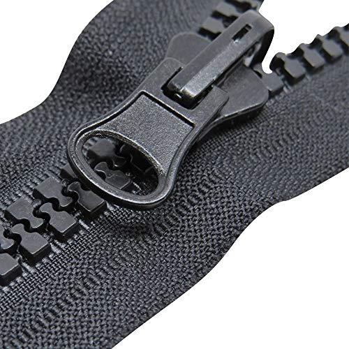 Chunk Kunststoff-Reißverschluss #10, strapazierfähiger Outdoor-Reißverschluss, Black - Reversible Auto Lock Slider, 2 meters with 2 slides -