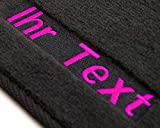 Auto Fußmatten 1K / 5K Velour, Bestickt mit Wunschtext, 2-teilig, Pink