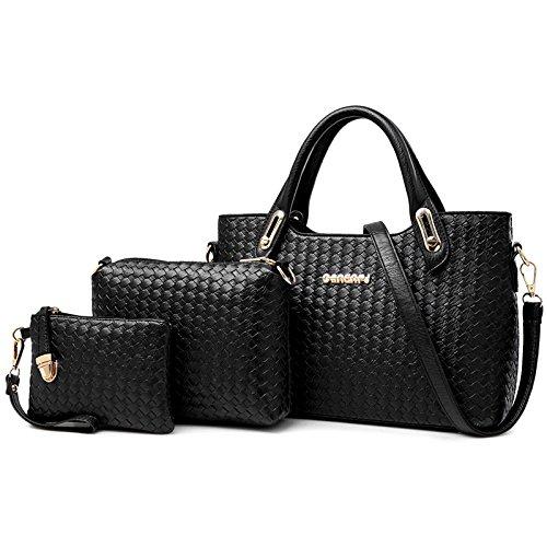 X&L Lady drei-piece weben Mutter Kind Diagonale Tasche Handtasche Tasche Black