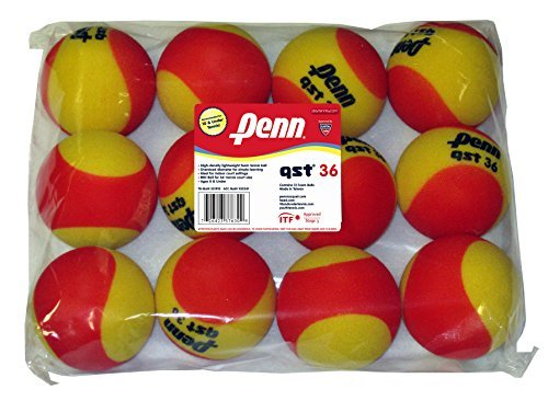 Penn QST 36 Foam Red Tennis Balls, 12 Ball Bag by Penn