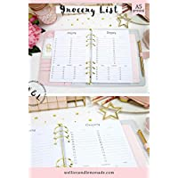 30 Planners - 15 Pages, A5 Grocery Shopping List Inserts, Meal Planner Inserts, Meal Planning Planner Refills, A5 Planner Inserts fits Filofax A5
