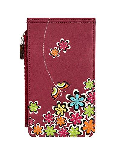 MENKAI Multi organizador tarjetero cartera con cremallera bolsillo 768X2 Rose Red