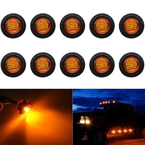 """KaTur 3/4 \""""runde LED Vorne Hinten Seitenmarkierungsanzeigen Licht Wasserdichte Kugel Abstand Licht 12 V für Auto Lkw (Bernstein)"""