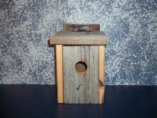 Primitive Country Collectible Bluebird Birdhouse with Leather Hinges. A Sound Barn Wood Birdhouse Nested Especially for Those Darling Bluebirds. Amish Handmade Birdhouse for That Primtiive Country Look in Your Garden Landscape Decor. A Primitive Country Birdhouse That Will Delight Both Your Family Bird Lover and Your Little Feathered Friends. Measures 10