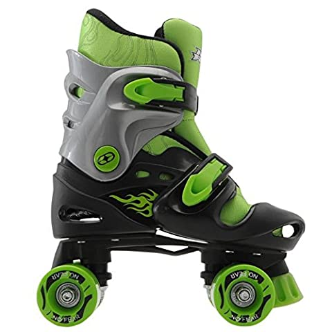 No Fear Kids Quad Skates Boys Skate Shoes Rollers Wheeled Black/Green UK C10-C13
