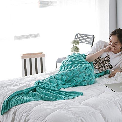 Mermaid Schwanz Decke handgefertigt Weich Schlafsack Häkeln Stricken Wohnzimmer Decke Alle Jahreszeiten beste Mode Geburtstag Weihnachten Geschenk Sofa Snuggle Teppich 190x90cm (Aquamarin) (Alter Mann Winter Kostüm)