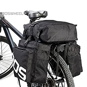 Life-Plus Roswheel 37L 3 en 1 Impermeable Bolsa de Bicicleta Sillín Alforjas Tija Sillín de Ciclismo Mutifunción Bolsas para Asiento Paquete, Negro