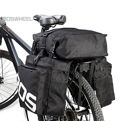Roswheel - Sacca portabagagli 3 in 1 per Bicicletta Impermeabile, capacità 37 Litri, Adatta per trasportare Bagagli, per Biciclette Sportive, da Strada e da Montagna, Black