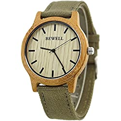 Bewell Unisex Watch Hot Sale Bamboo Bezel Watch with Canvas Strap Folksy Indie Pop Style