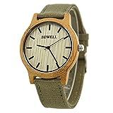 Bewell - Reloj unisex reloj caliente venta bambú bisel reloj con correa de tela de estilo...