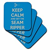 3dRose-cst_172003_2-Keep-Calm-and-Get-The-Seam-Ripper.-Blue-and-White-Soft-Coasters,-Set-of-8