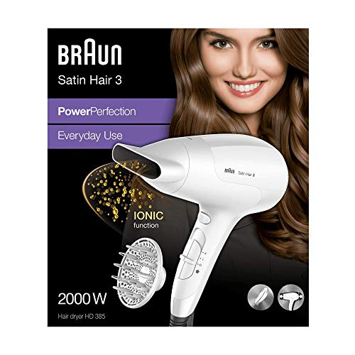 Braun Satin Hair 3 Power Perfection Haartrockner HD 385, mit IonTec und Diffusor, 2000 Watt
