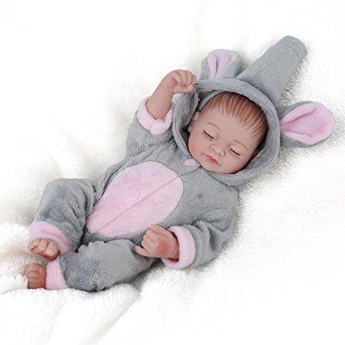 Lebensechte Reborn Baby-Puppe Junge Voll Silikon-Bad Spielzeug mit Niedlichen Elefanten Kleidung Zum Geburtstag/Weihnachtsgeschenk (59Cm) HMYH (Braune Vinyl-sitz)