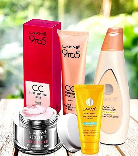 LAKME PERFECT STYLE COMBO SET Lakme 9 to 5 Complexion Care Face Cream Beige 30g , Lakme Peach Milk Moisturizer spf 24, Lakme Absolute Perfect Radiance Skin Lighting Sunscreen With Lakme Sun Expert Face Wash  available at amazon for Rs.849