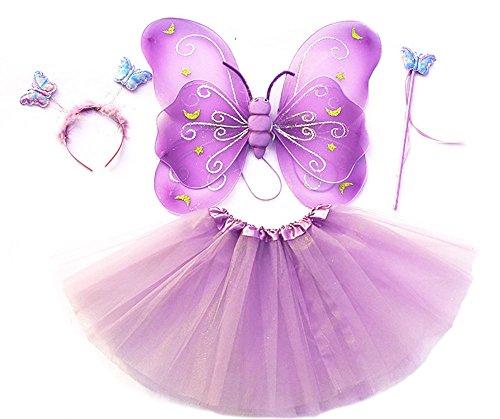"""Tante Tina Costume bambina """"Farfalla Set di 4 pezzi – Con ali da fata o farfalla – Stella Lila con cerchietto"""