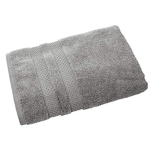 iDesign Duschtuch, großes Handtuch zum Duschen mit gewebter Verzierung aus Baumwolle, weiches Badehandtuch für Dusche, Badewanne und Sauna, grau -