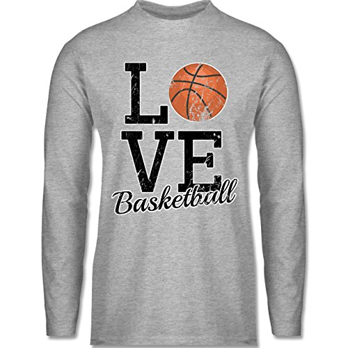 Shirtracer Basketball - Love Basketball - Herren Langarmshirt Grau Meliert