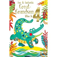Great Grandson 4th Age 4 Today Cute Crocodile Happy Birthday Card Lovely Verse