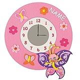 Unbekannt Bastelset 3-D Uhr / elektrische Wanduhr - incl. NAME - Schmetterling rosa Mädchen - Kinderzimmer Kinderuhr Uhren Komplett Set