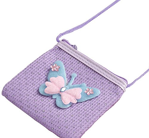 Wunderschöner glitzender lila Schmetterling Geldbeutel / Handtasche für Kinder / lange Träger zum Umhängen