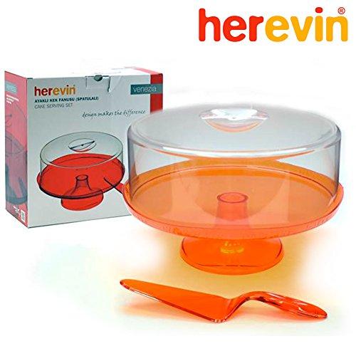 Tortiera Alzatina con Piede e Campana con Spatola Herevin Colore Arancione Pasticceria Dolci Frutta Dessert