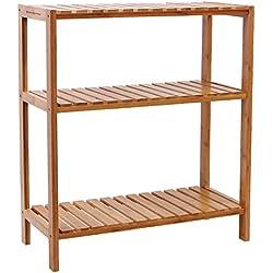 Estantería de bambú para baño 60 x 26 x 66 cm