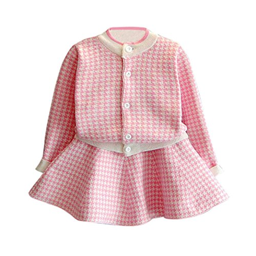 Kinder Plaid Gestrickt Sweatshirt Hirolan Baby Tops + Rock Set Mädchen Mantel Kleider Outfit (90cm, Rosa) (Plaid-rock Navy)